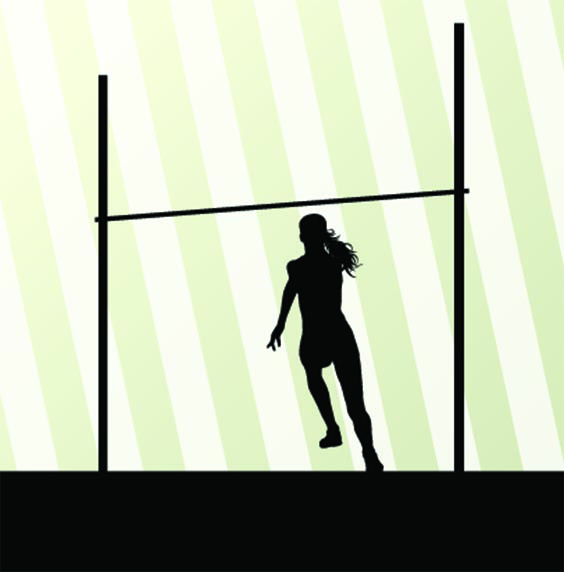 Cartoon silhouette of a female high jumper approaching a high bar